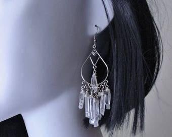SALE Sterling silver earrings, quartz, quartz points, dangle, chandelier, clear raw stones