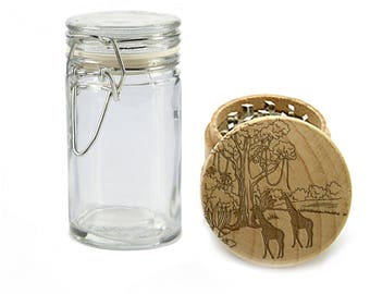 Wood Weed Grinder with FREE Glass Jar, Herb Grinder with Wild Giraffe Safari Design, Laser Engraved Wood with Metal, Stoner Gifts - W0285
