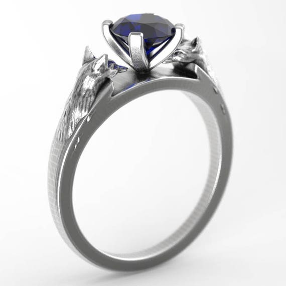 Sterling Silver Fox Engagement Ring with Sapphire, Fox Jewelry, Custom Fox Ring, Silver Fox Ring, Fox Solitaire Ring