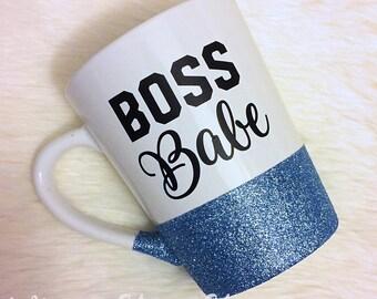 Boss Babe Glitter Dipped Coffee Mug // Coffee Mug // Boss Babe // Glitter Coffee Mug // Boss Gift