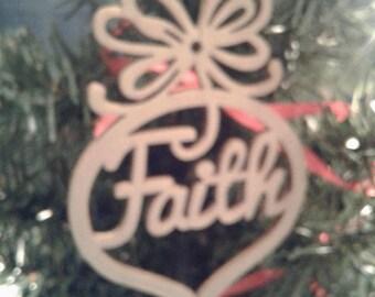 """Wooden Christmas Ornament """"Faith"""""""