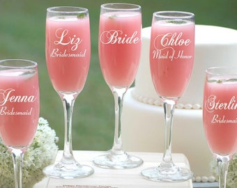 Personalized Champagne Glasses, Custom Engraved Toasting Glasses, Bridesmaids Wedding Gift, Bridesmaid Champagne Flutes, Personalized Gift