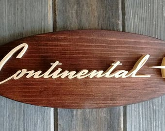 1961 Lincoln Continental Emblem Oval Wall Plaque-Unique scroll saw automotive art created from wood for your garage, shop or man cave.