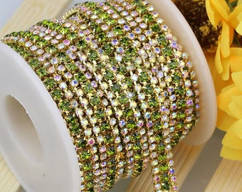 3 Row Gold Tone Light Green and AB Clear Rhinestones Trim - Crystal Chain - Wedding Cake Deco - 2mm & 3mm Rhinestone  1 yard