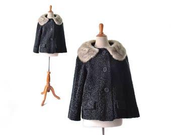 Persian Lamb Coat, 1960s Coat, 60s Coat,  Persian Wool Coat, Fur Collar Coat, Black and White Coat, Vintage Coat, Womens Coat