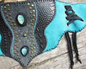 Blue and black leather pixie belt, tribal gypsie accessory, blue labradorite, corset on side, bronze rivets, fantasy, medieoval, princess