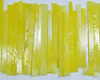 YELLOW MIX Some Iridized Glass Strips for Mosaic work or art project in glass 1.5 Lbs