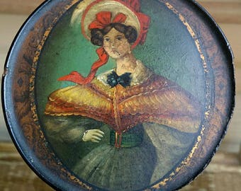 Antique Hand Painted portrait of a woman Snuff Box