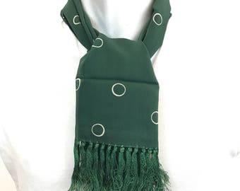 Tootal Scarf bottle green spotted scarf long spotty oblong tassel hem Mod vintage gent cravat Goodwood Revival scooter 1950s