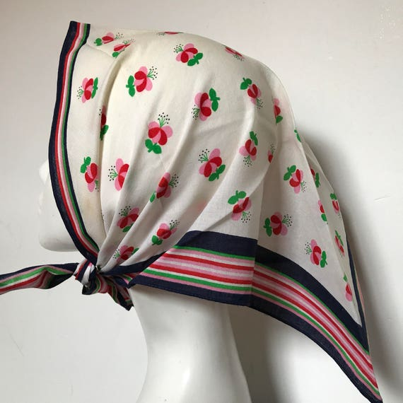 Vintage cotton scarf triangle head scarf spotted blue pink green daisy spotty scarf 60s head scarf turban neckerchief 1960s 50s