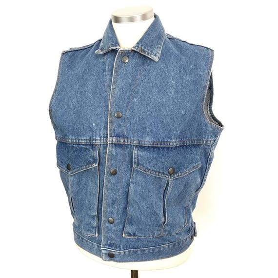 denim jacket sleeveless denim gilet vintage 1980s jeans jacket medium rock 70s 80s M j fox teen wolf halloween