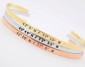 Custom Coordinate Jewelry - Travel Jewelry - Latitude Longitude - Personalized Coordinate  Bracelet  Handstamped anniversary gift couple