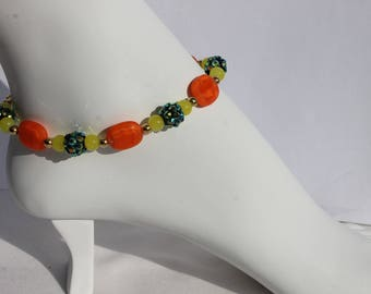 "9.5"" Handmade Anklet Jewelry Spring Time Yellow,Green's and Orange Glass Beads"
