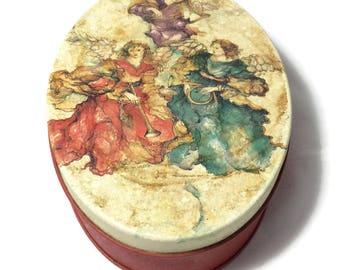vintage angel christmas tin oval christmas tin collectible tins vintage tins christmas - Ceramic Halloween Decorations