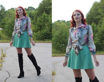 1970s mini long sleeve lame psychedelic hippie dress / 1960s / 70s / floral / art / silver / gold / lame