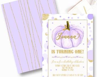 Lavendar Pumpkin First Birthday Invitations, Purple Pumpkin Birthday Invitations, Fall Birthday Invite