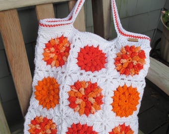Crochet Tote Bag, Crochet Market Bag, Crochet Beach Bag, Crochet Floral Tote, Granny Square Tote Bag by CROriginals