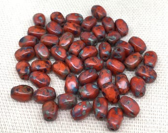 25 Orange Red Picasso Czech Glass Beads 7mm