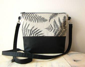 Ferns Crossbody bag, hand stamped bag, handprinted linen bag, Ferns stamped bag, Vegan crossbody bag, black bag