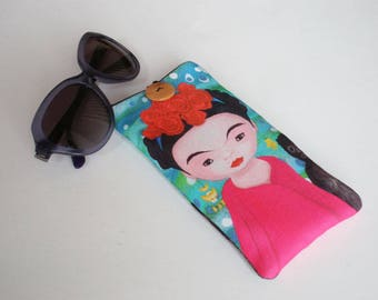 Glasses case, Frida Kahlo, sunglasses case, eyeglasses case, Case for sunglasses, Quilted eyeglass case, glasses sleeve, sunglasses sleeve
