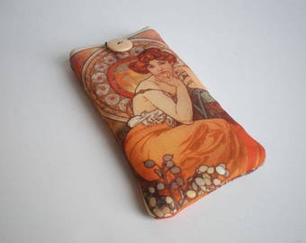 Cell phone case, iPhone X case, Galaxy S8 sleeve, Huawei P10 sleeve, Moto case, ZTE case, LG sleeve, Xperia sleeve, Alphonse Mucha art