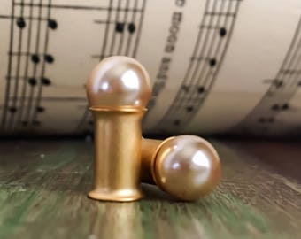 Matte Champagne Pearl Wedding Plugs, gauges   8g, 6g
