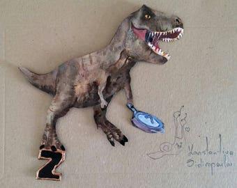 Fossil reptile of the Mesozoic era letter magnet!