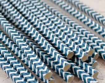 Navy Chevron Paper Straws