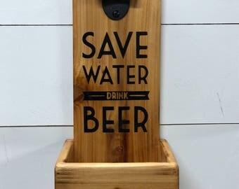 Bottle Opener with Cap Catcher & Quote - Bachelor - Man Cave - Bottle - Opener - Beer