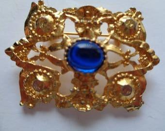 Vintage Unsigned Goldtone/Blue Art Nouveau Brooch/Pin