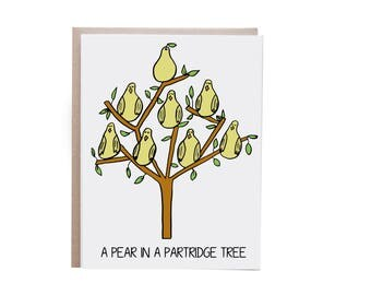 Funny Christmas Card, Partridge in a Pear Tree, Holiday Card, 12 Days of Christmas, Twelve Days of Christmas