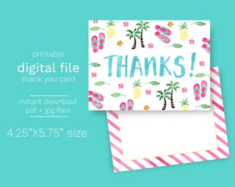 Instant Download Hawaiian Luau Thank You Card - Print Your Own PDF and JPG file included Printable Thank you digital Summer Pineapple
