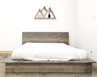 Rustic Modern Low Profile Platform Bed Frame and Headboard - Loft Style -  Solid Wood Made
