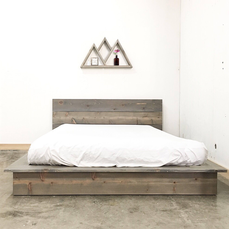 rustic modern low profile platform bed frame and headboard. Black Bedroom Furniture Sets. Home Design Ideas