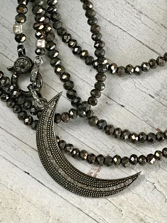 Moonshine. Chocolate pyrite with diamond pave clasp and crescent moon pendant. Handmade and OoAK by ladeDAH! Jewelry.