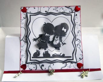 Tent card lovers black, white and Red