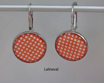 Earrings coral orange with white polka dots