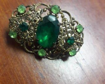 Green Rhinestone Czechoslovakia Brooch Pin