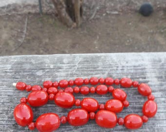 Chunky Red Swirl Bakelite Necklace