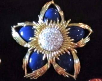 Joan Rivers Large Star Brooch - Blue with Crystals - S2201