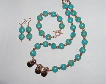 Gemstone SET - Turquoise and Copper Necklace, Bracelet and Earrings - S2361