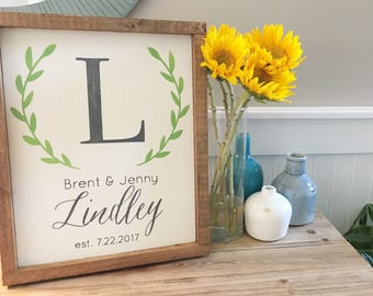 Framed family established sign, last name sign, farmhouse style sign, custom family name sign, personalized wedding gift