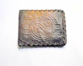 Leather Wallet Ostrich Skin Vintage Hand Tooled Leather Wallet Hand Laced