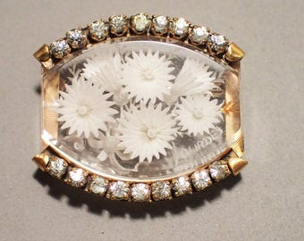 Reverse Carved Lucite Flower and Rhinestone Lourdes France Souvenier Brooch