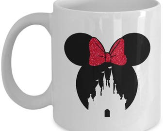Magic Castle Mouse Mug Gift Red Bow Love Fan Fanatic Magical Coffee Cup