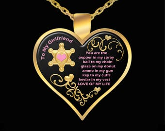 Heart Necklace Gift for Girlfriend from Deputy Sheriff Love Pendant Jewelry (Choice of Metal)