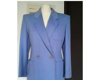 ON SALE JAEGER Vintage Jacket 1970 does 1940 Wool angora Blue S