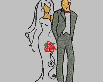 Bride and Groom Machine Embroidery Designs - Wedding Patterns 389