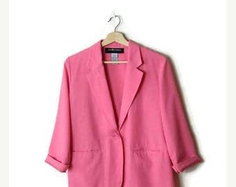 ON SALE Vintage Plain Pink Slouchy Blazer /Light Jacket  from 1980's*