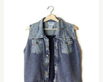 ON SALE Vintage Acid wash Denim x Cotton Knitted Vest from 1980's*